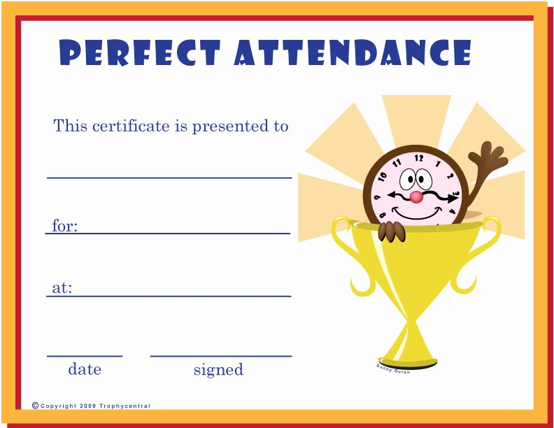 Printable Perfect attendance Certificates Awesome Free Perfect attendance Certificates Certificate Free