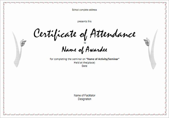 Printable Perfect attendance Certificates Beautiful Printable attendance Certificates