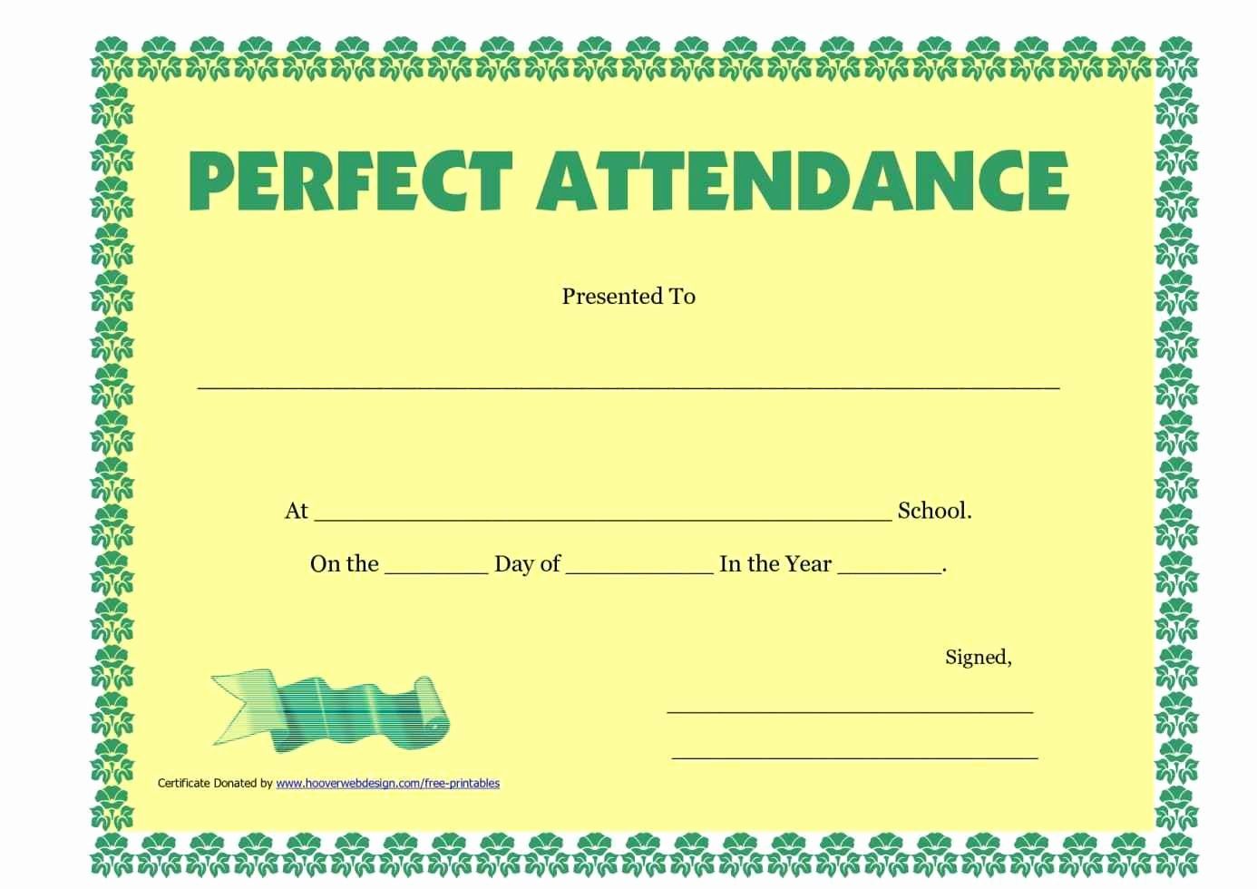 Printable Perfect attendance Certificates Inspirational Certificate School attendance Template Update234