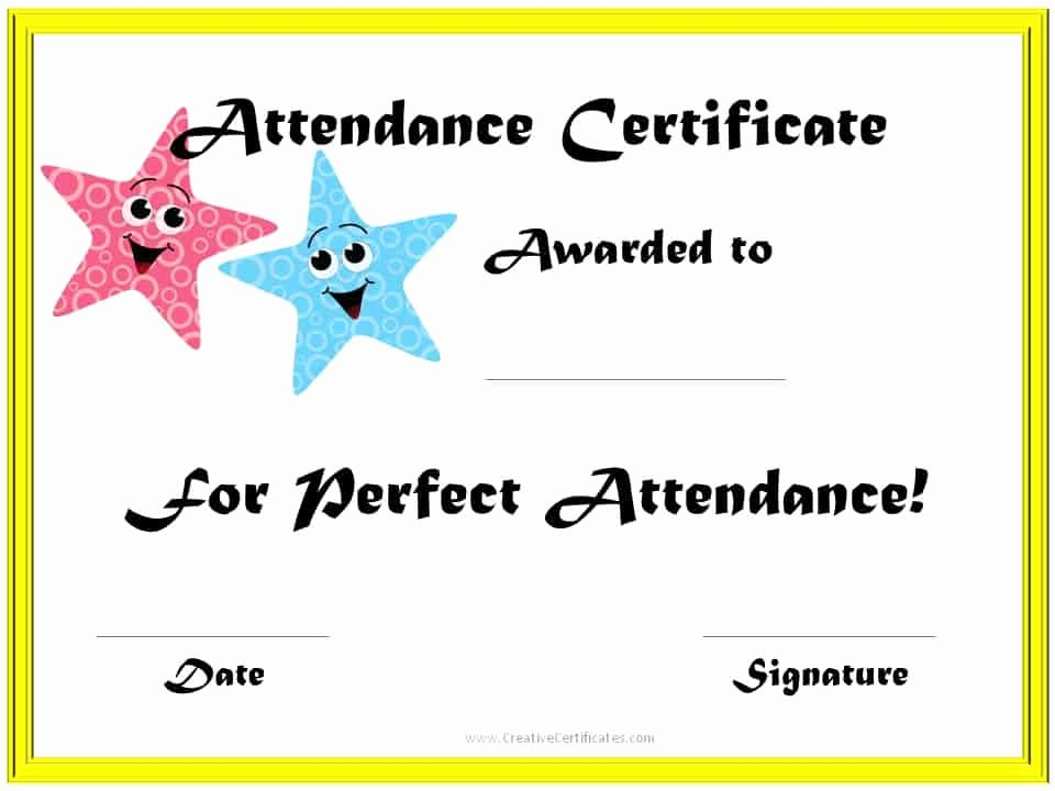 Printable Perfect attendance Certificates Lovely Perfect attendance Award Certificates