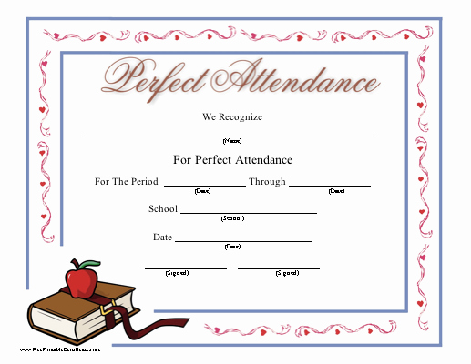 Printable Perfect attendance Certificates Lovely Perfect attendance