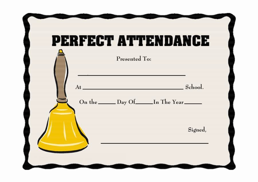 Printable Perfect attendance Certificates Luxury 40 Printable Perfect attendance Award Templates & Ideas