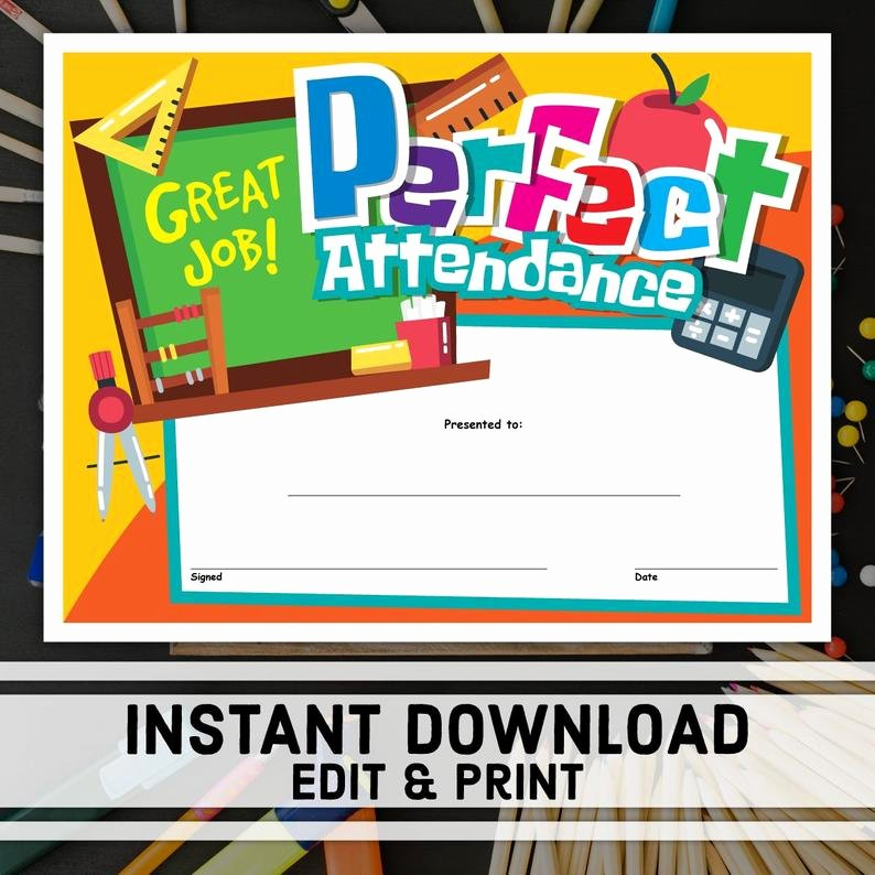 Printable Perfect attendance Certificates New Perfect attendance Certificate Instant Download Printable