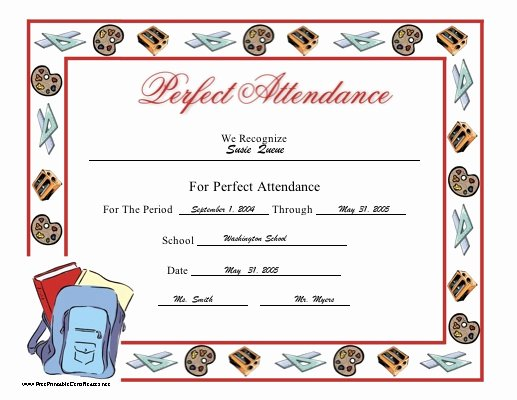 Printable Perfect attendance Certificates New Perfect attendance