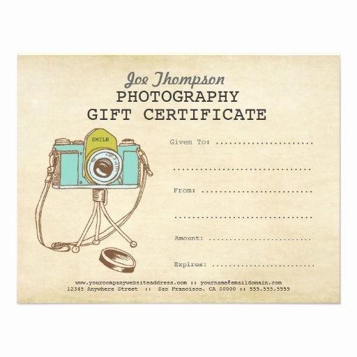 """Printable Photography Gift Certificate Template Fresh Grapher Graphy Gift Certificate Template 4 25"""" X"""