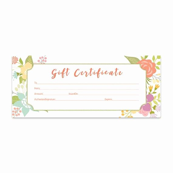 Printable Photography Gift Certificate Template Lovely Floral Gift Certificate Download Flowers Premade Gift