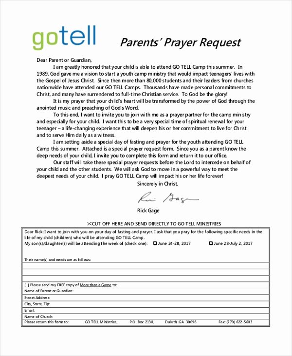 Printable Prayer Request form Beautiful Free 10 Sample Prayer Request forms