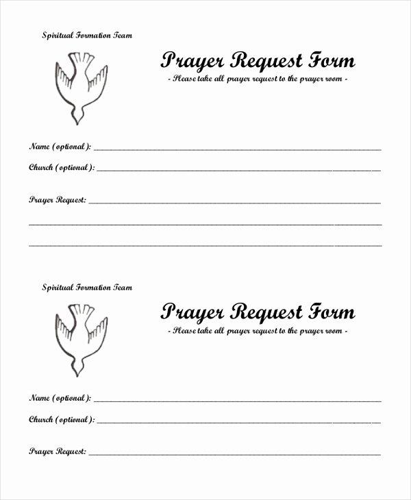 Printable Prayer Request form Fresh Free 10 Sample Prayer Request forms
