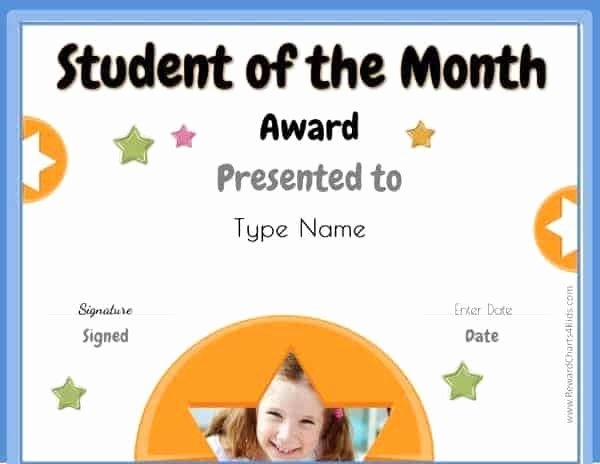 Printable Student Of the Month Certificate Elegant Free Student Of the Month Certificate