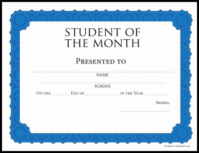 Printable Student Of the Month Certificate Fresh Free Student Of the Month Achievement Certificate