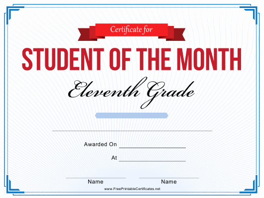 Printable Student Of the Month Certificate Unique 11th Grade Student Of the Month Certificate Template