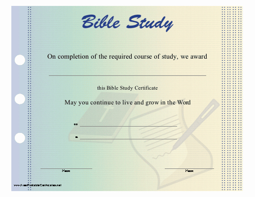Printable Vacation Bible School Certificate Of Completion Awesome Bible Certificate Frompo