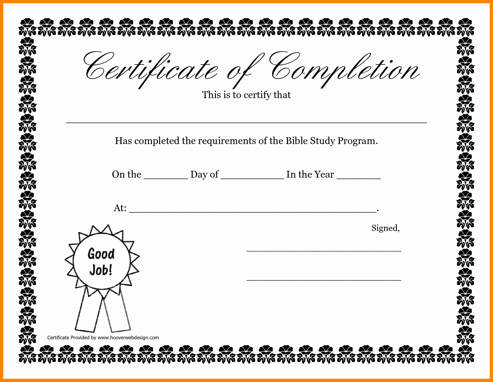 Printable Vacation Bible School Certificate Of Completion New 6 Certificate Of Pletion Template Free Printable