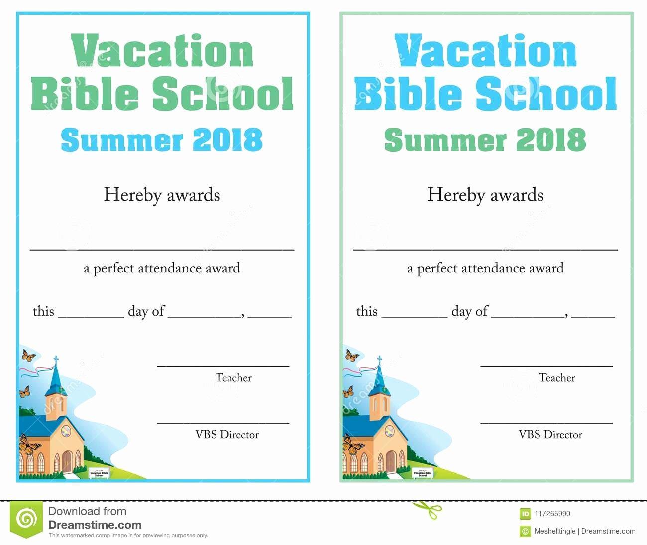 Printable Vacation Bible School Certificate Of Completion New Bible School attendance Certificate Stock Vector