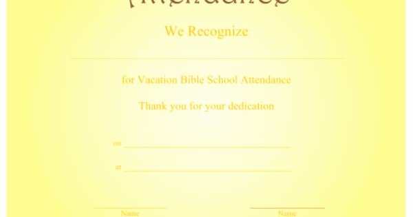 Printable Vacation Bible School Certificates Awesome A Printable Certificate Recognizing Vacation Bible School