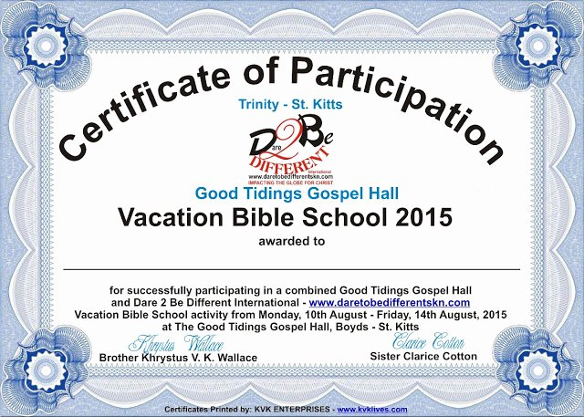 Printable Vacation Bible School Certificates Awesome Dare 2 Be Different News We Cover the Stories that Other