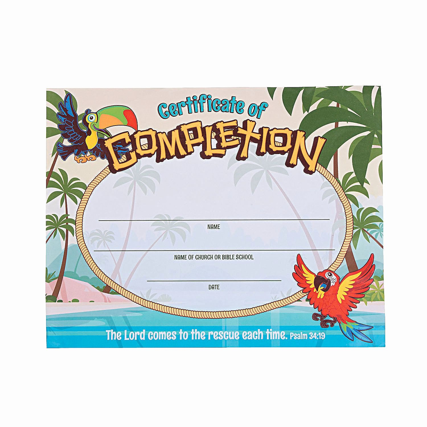 Printable Vacation Bible School Certificates Awesome island Vbs Certificates Of Pletion