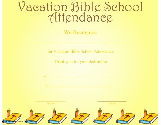 Printable Vacation Bible School Certificates Beautiful School attendance Printable Certificates and Vacation