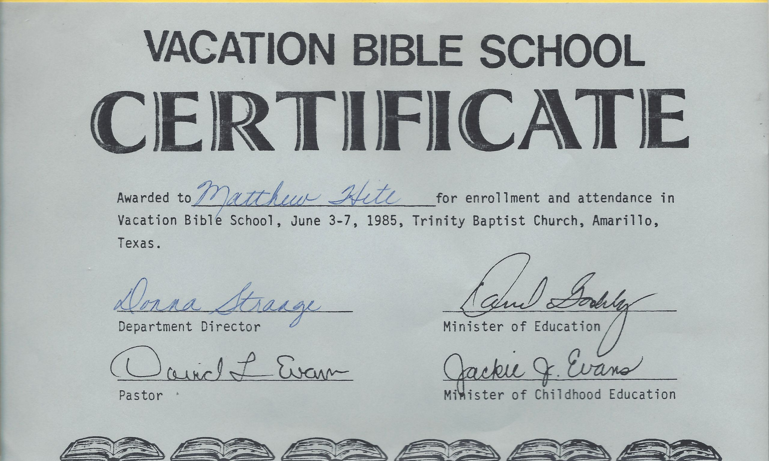 Printable Vacation Bible School Certificates Inspirational Vacation Bible School – Matthew Walter Hite Amarillo Texas