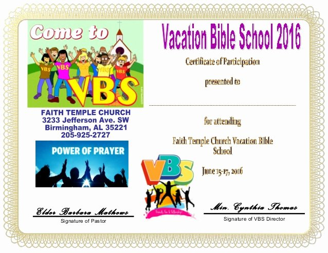 Printable Vacation Bible School Certificates Lovely Vbs Certificate Child