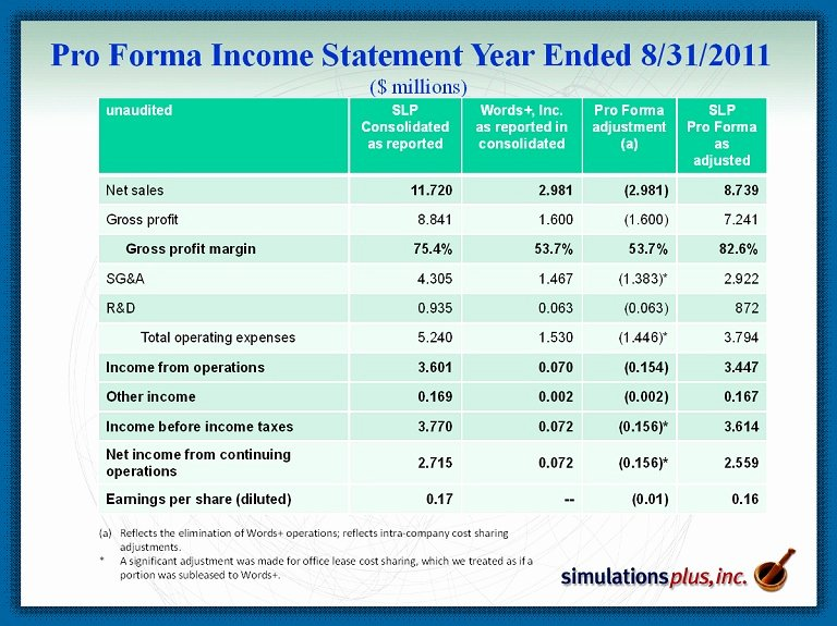 Pro forma Financial Statement Example Unique Simulations Plus Inc form 8 K Ex 99 1 Presentation
