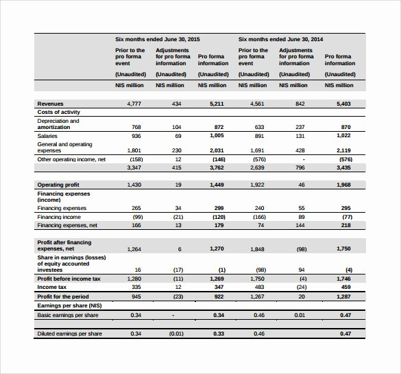 Pro forma Financial Statements Example Best Of Pro forma In E Statement –11 Free Samples Examples