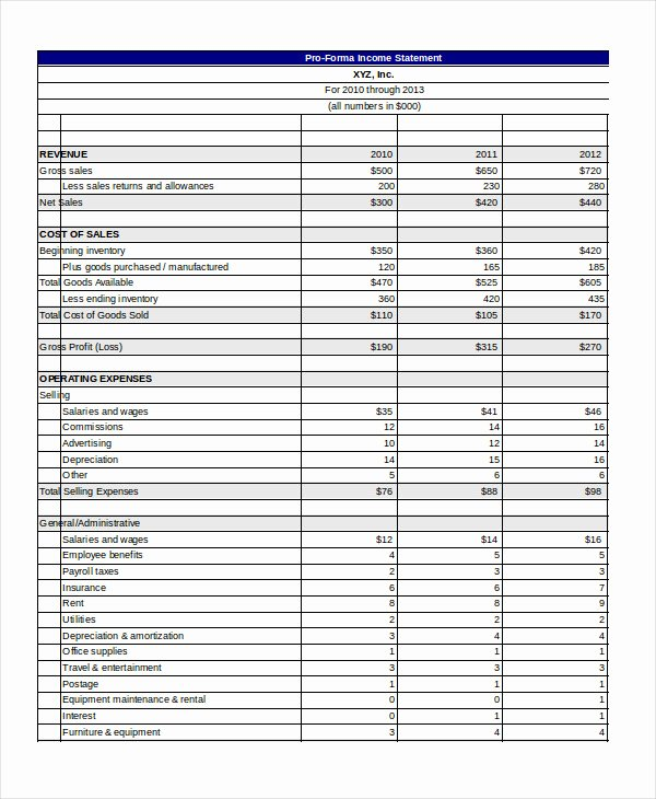Pro forma Financial Statements Example Luxury Pro forma Excel Template 14 Free Excel Documents