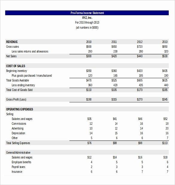 Pro forma Financial Statements Example Unique In E Statement Template 25 Free Word Excel Pdf