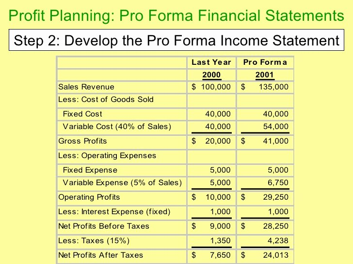 Pro forma Statements Examples Inspirational Chapter 14