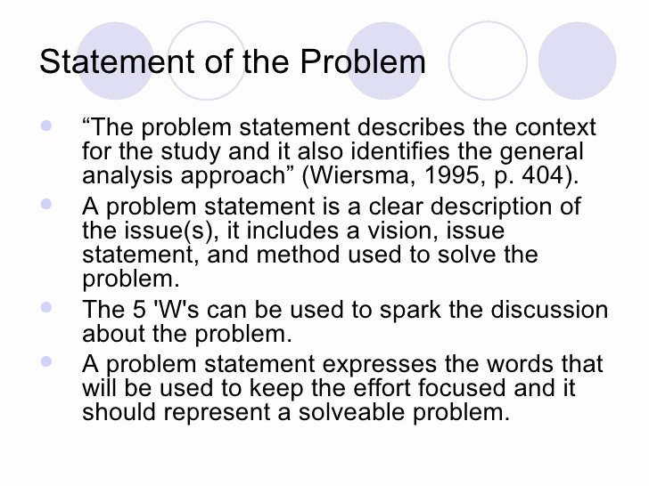 Problem Statement Examples Business Awesome the Research Proposal
