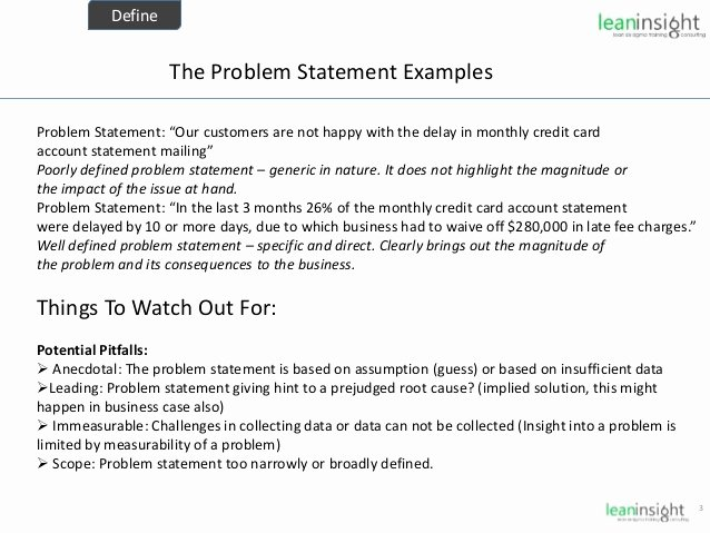 Problem Statement Examples Business Lovely Lean Six Sigma Black Belt Training Part 6