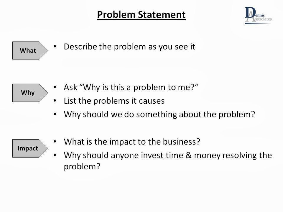 Problem Statement Examples In Business Fresh Lean Team January 2014