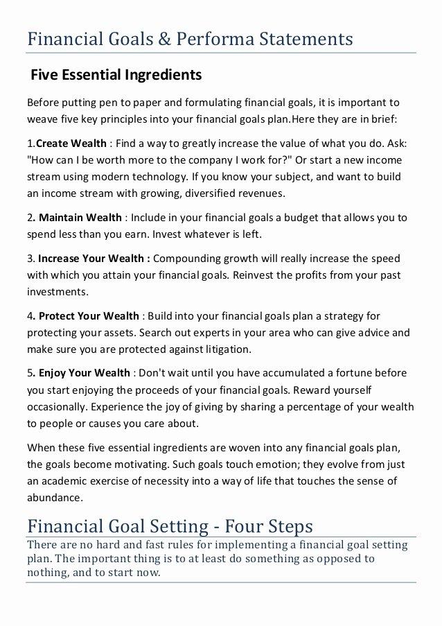 Professional Goals Statements Unique Financial Goals and Performa Statement
