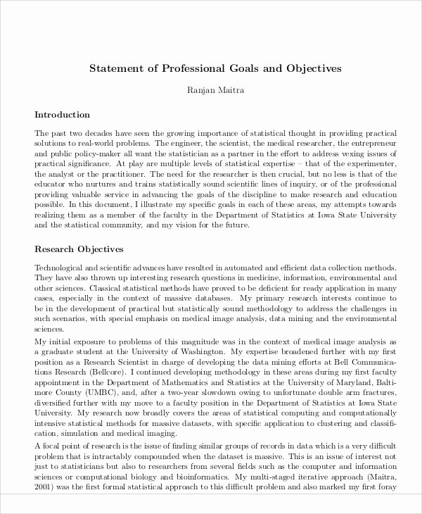 Professional Goals Statements Unique Sample Goal Statement 9 Examples In Word Pdf