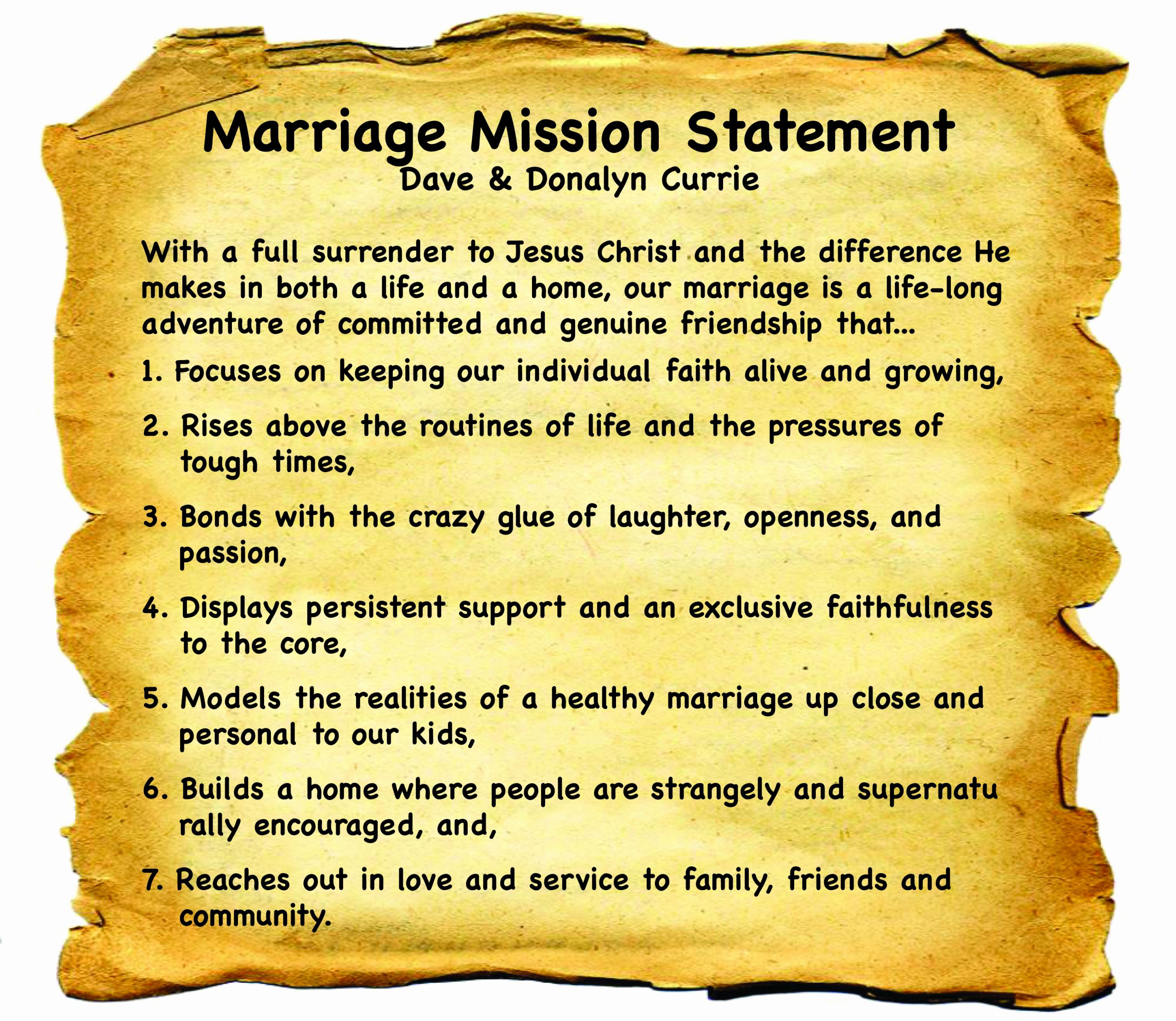 developing a marriage mission statement