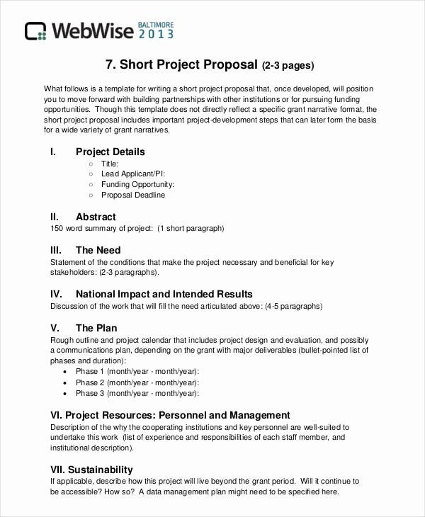 Project Proposal Outline Sample Best Of Free 43 Simple Proposal formats Examples In Pdf