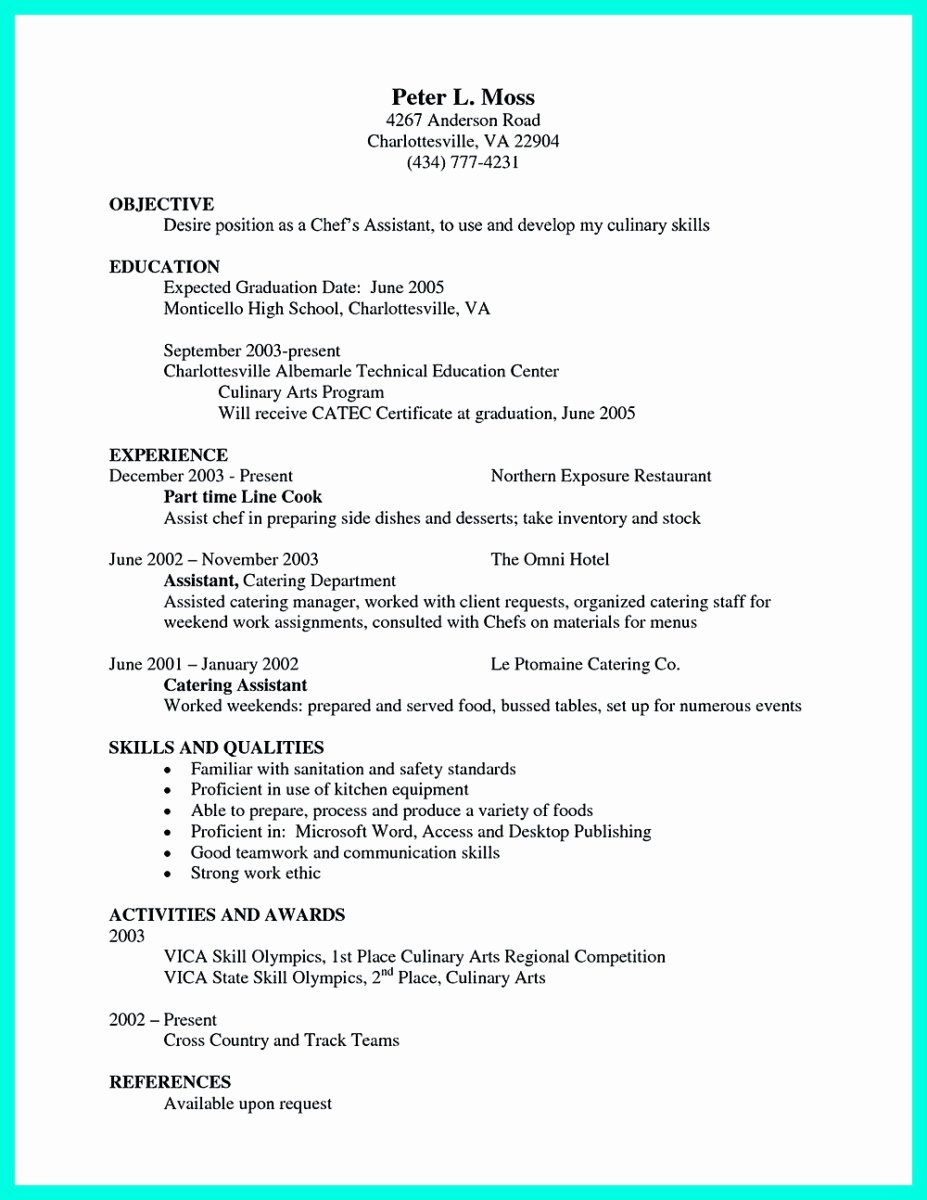 Projected Graduation Date On Resume Unique Chef Resumes that Will Impress Your Future Pany