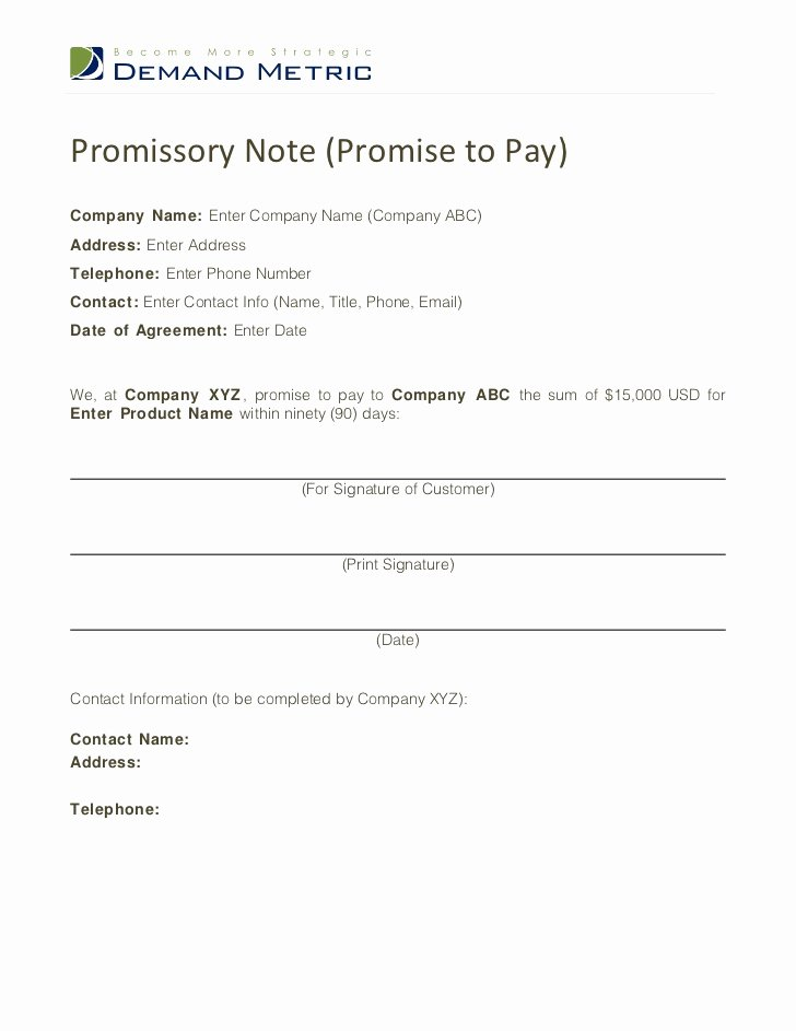 Promise to Pay Contract Fresh Promise to Pay Template