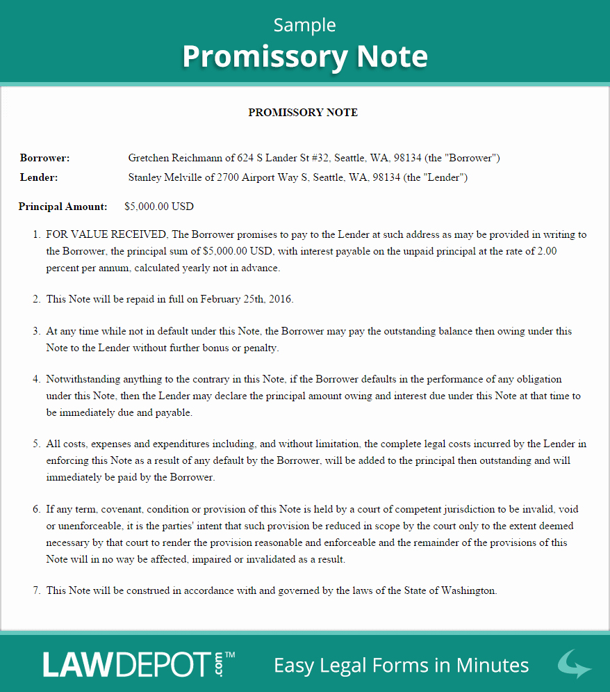 Promise to Pay Contract Fresh Sample Promissory Note