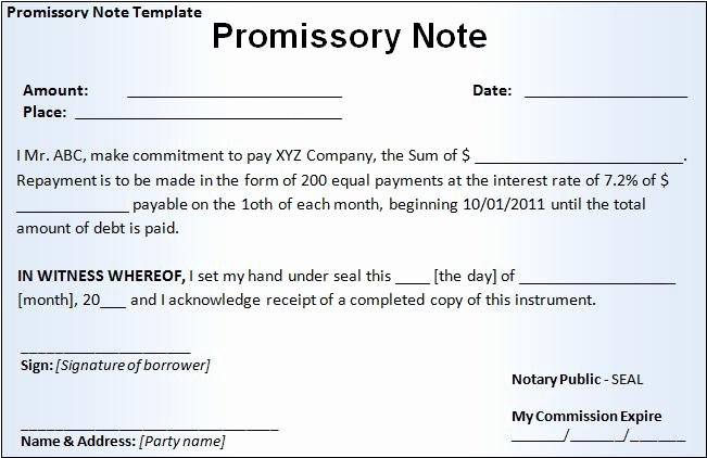 Promise to Pay Contract Inspirational Promissory Note Template