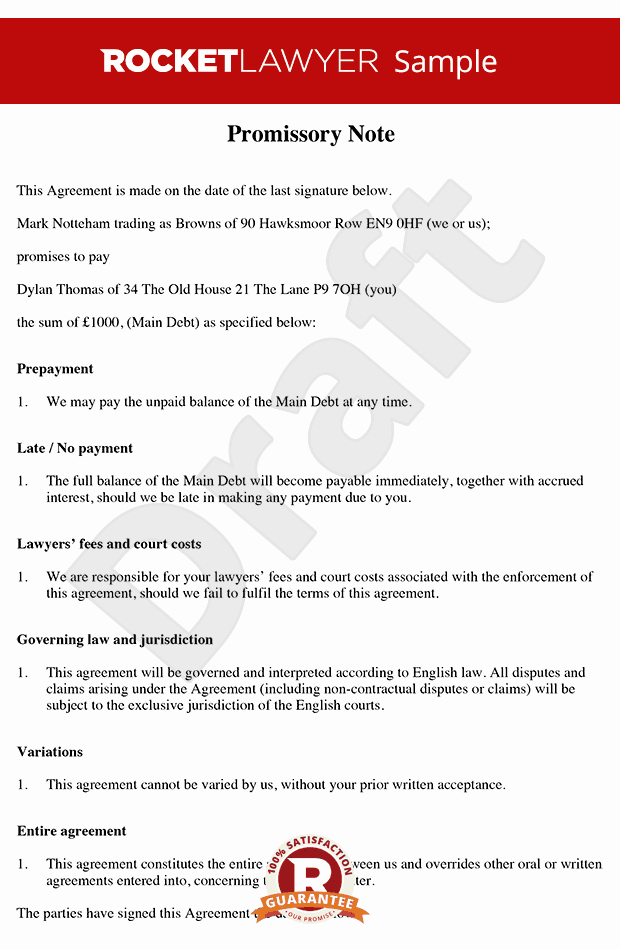 Promise to Pay Contract Lovely Promissory Note Free Promissory Note Template