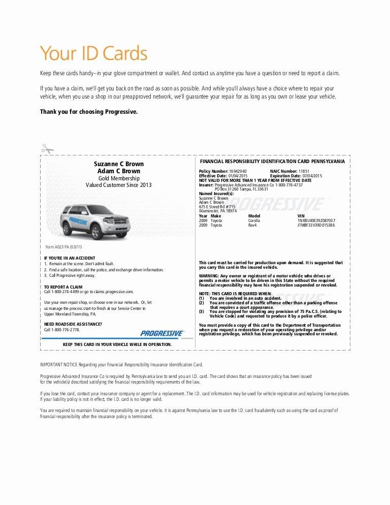 Proof Of Car Insurance Template Inspirational Pgr Insurance Idcard