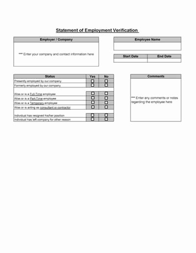Proof Of Employment form Template Elegant Employment Verification From