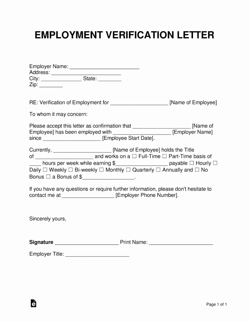Proof Of Employment form Template Elegant Free Employment In E Verification Letter Pdf
