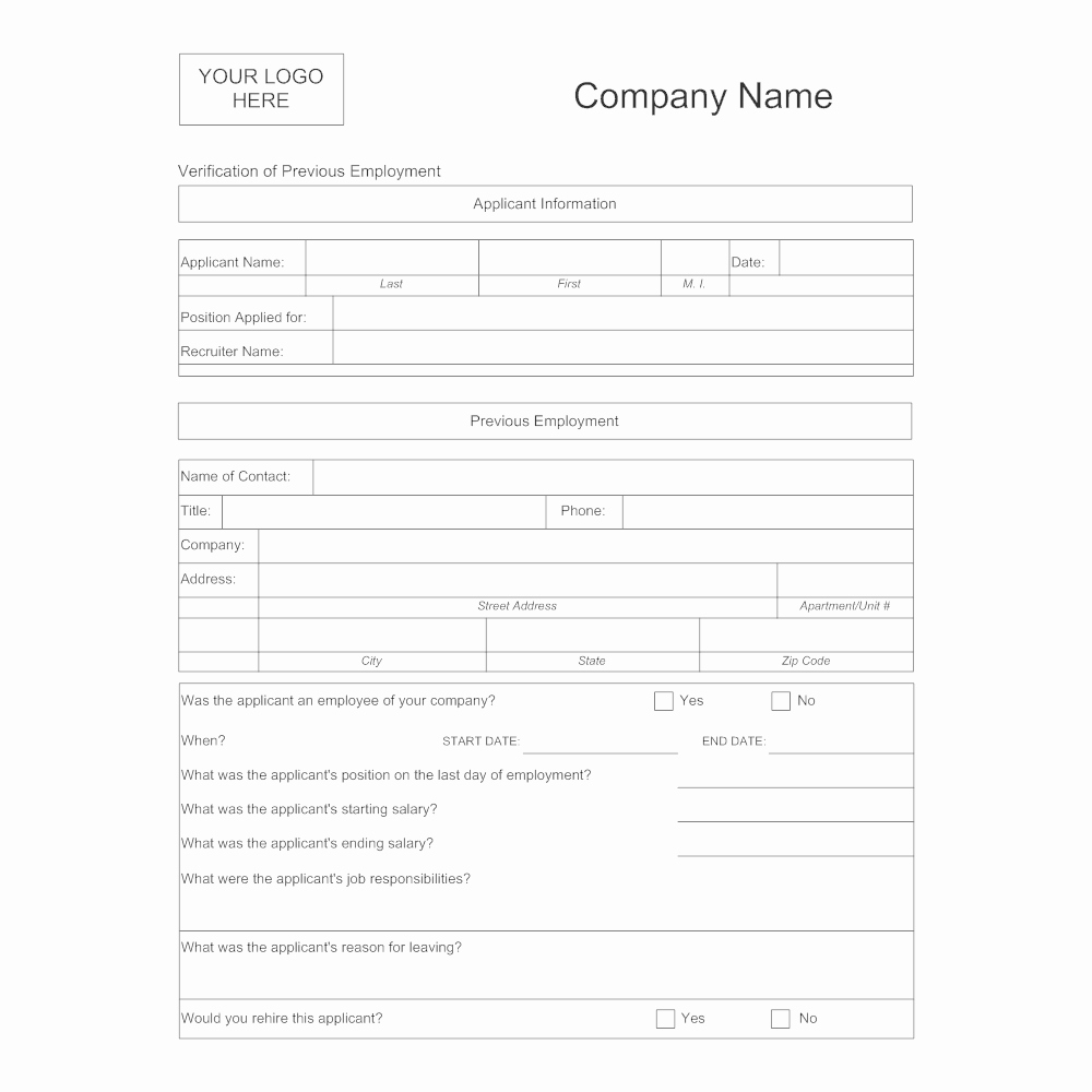Proof Of Employment form Template Elegant Verification Of Previous Employment