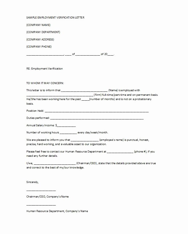 Proof Of Employment form Template Fresh 40 Proof Of Employment Letters Verification forms