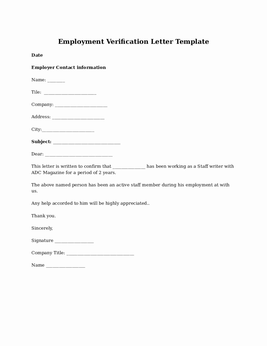 Proof Of Employment form Template Luxury 2019 Proof Of Employment Letter Fillable Printable Pdf