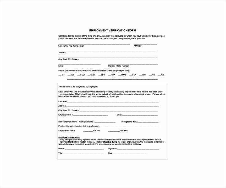 Proof Of Employment form Template Luxury 9 Employment Verification forms Free Pdf Doc format