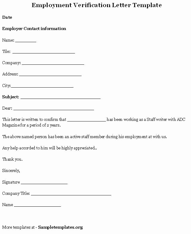 Proof Of Employment form Template Luxury Printable Sample Letter Employment Verification form In