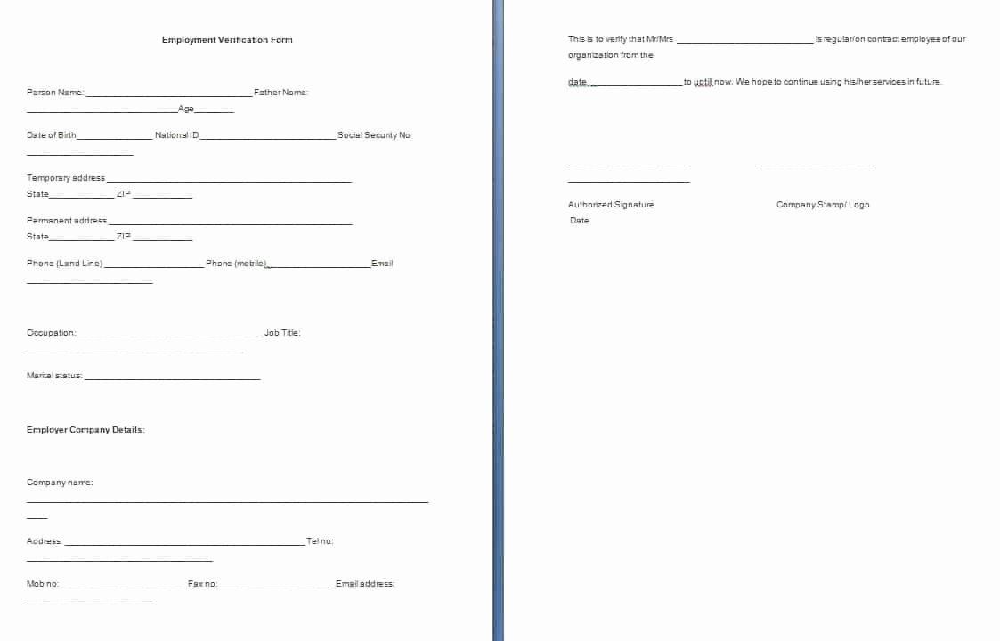 Proof Of Employment form Template Unique Employment Verification form Template Free formats Excel